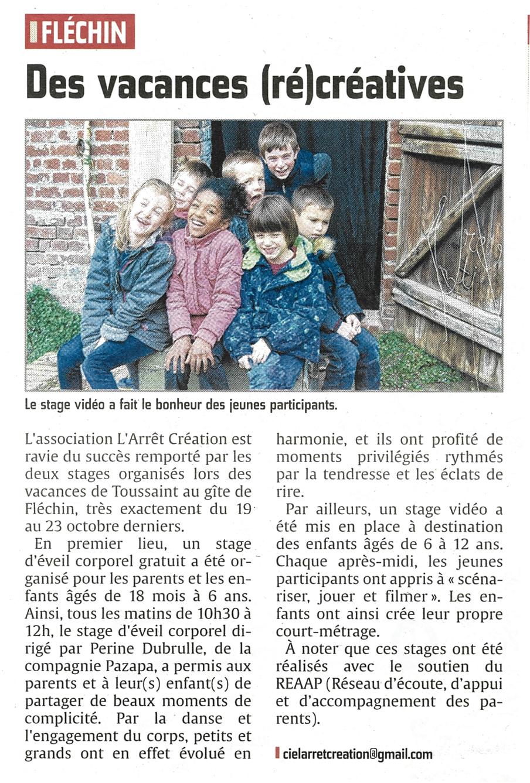 Vacances créatives - Echo de la Lys - 12 nov 2015